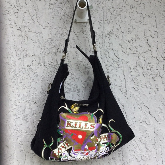 ED HARDY   Signature Canvas Hobo Bag with silver 88bf5a722c2c7
